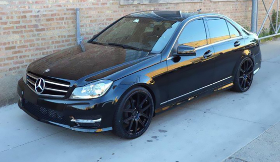 Mercedes benz c class on black luxury rims giovanna for Mercedes benz c300 black rims
